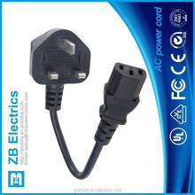 BS136 3 plug to IEC320 C13 UK power cord 13A fuse