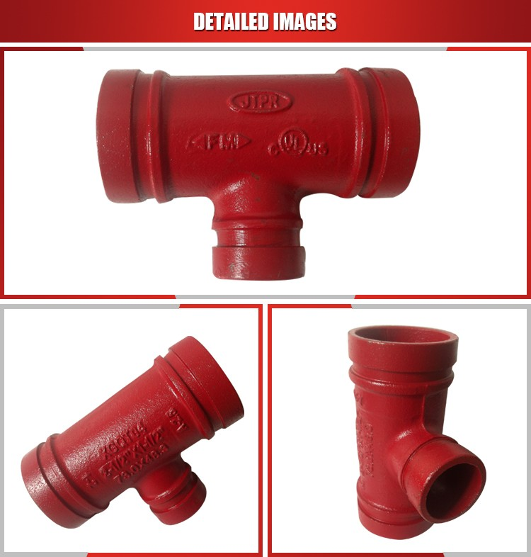 Grooved tee type red painted reducing pipe fitting