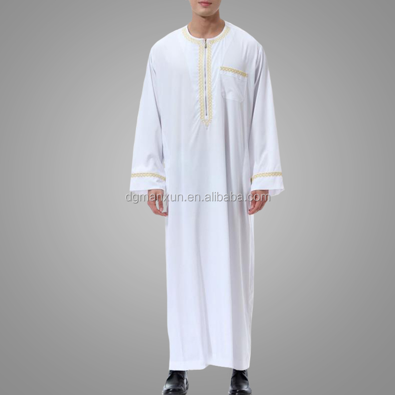 Newest High Quality Cotton Men Jubah Casual Saudi Style White Muslim Thobe Full Length Embroidery  Islamic Men Clothing
