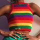 or51158b European and American women's clothing hot selling t-shirt women's knitted vest rainbow stripes crop top