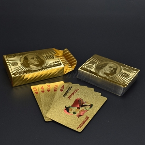 New Design Birthday Gift 100 dollar Design Poker 24K Gold Foil Plated Playing Card