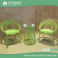 French bistro low-back green bamboo and rattan peacock half moon wicker chair chair
