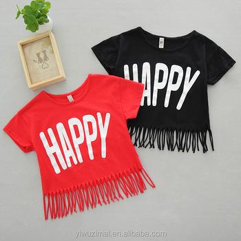 5f6b0ea7 2017 Summer Kids Girls HAPPY Design Tassel Cotton Short Sleeve T-Shirt Baby  Girl Fashion