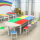 Colorful kindergarten plywood furniture kid's table and chair