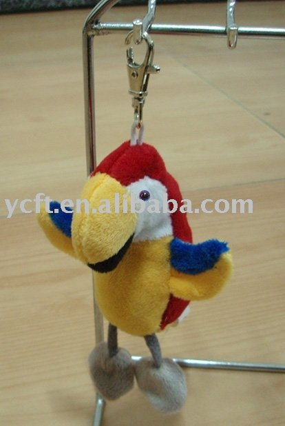 08238 small stuffed plush Parrot with keychain