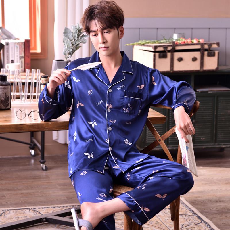ee2bed760efdb Оптовая продажа от производителя весна осень период новые мужские шелковые  пижамы с длинным рукавом атласные пижамы