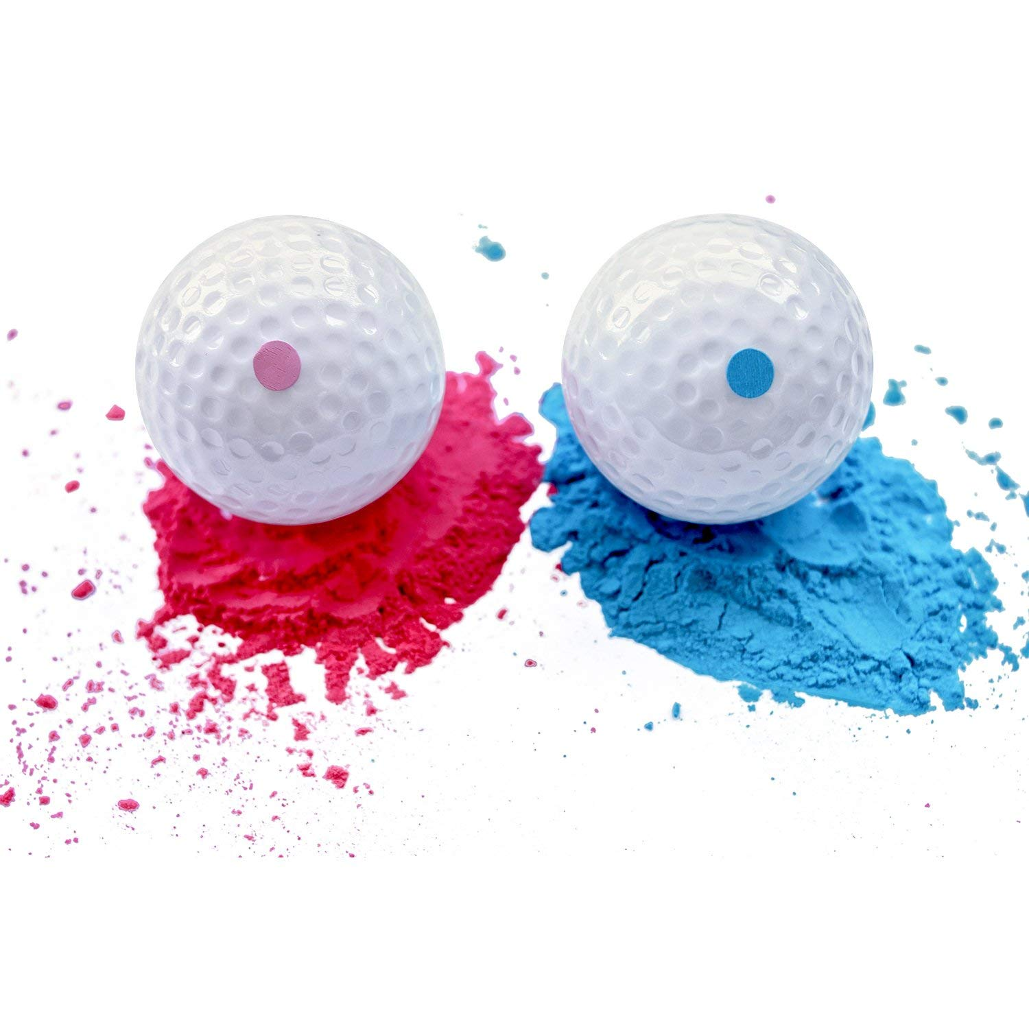 Gender Reveal Golf Balls | Set of 2 | 1 PINK | 1 BLUE | Gender Reveal Party Supplies, Baby Shower | BIG Powder Poof, VIBRANT Color