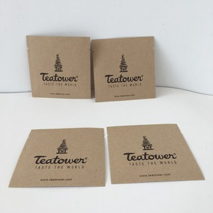 Three Side Seal Eco Friendly Logo Printed Brown Kraft Paper Bag For Tea Sample Packet Drip Coffee Pouch Custom Tea Sachet