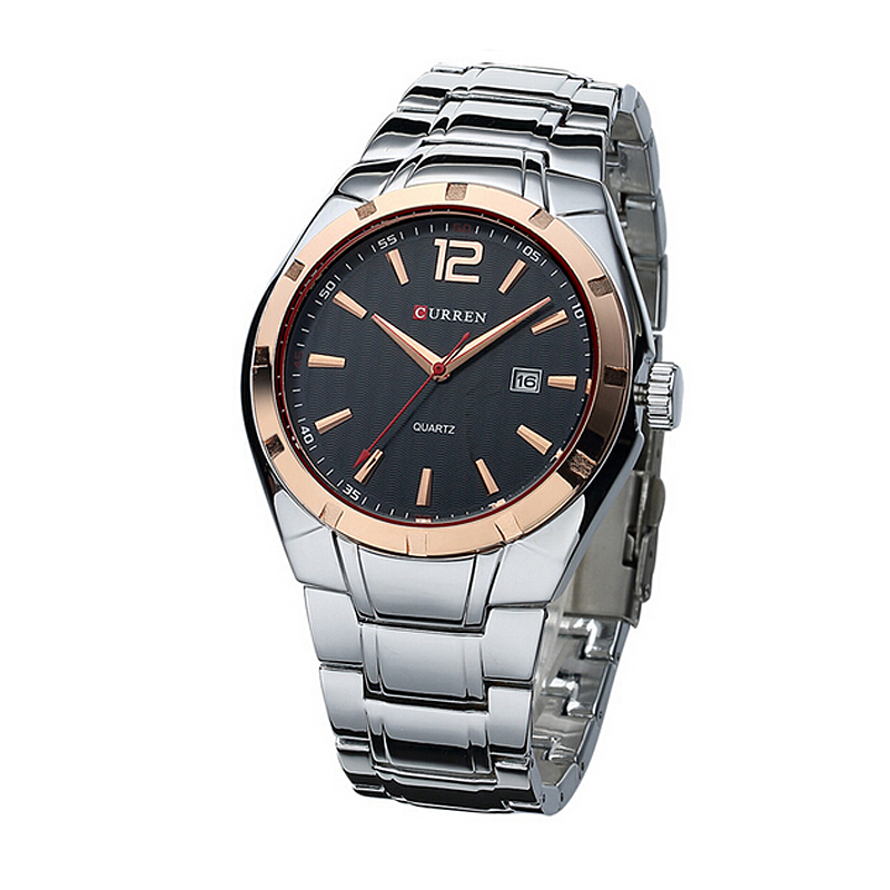 New Style Sports Man Wrist Quartz Watches Stainless Steel Curren Watch Men with <strong>Date</strong>