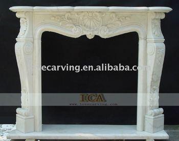 Camino Bianco In Pietra : Mensola del camino di marmo bianco al coperto usato round
