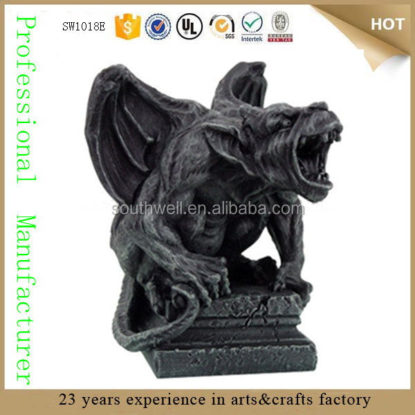 Mythical Fantasy Guardian Dog Lion Winged Figure Beard Medieval Cheap Garden  Statue Gargoyle Statues