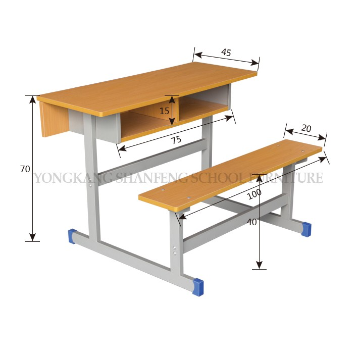 China Manufacturer School Metal Desk With Double Bench