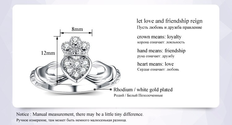 UMODE Love Heart Design Crown Hand Heart Clah-Duh Claddagh Rings For Women  Christmas Gift Anel Fashion Silver Color Bague UR0127
