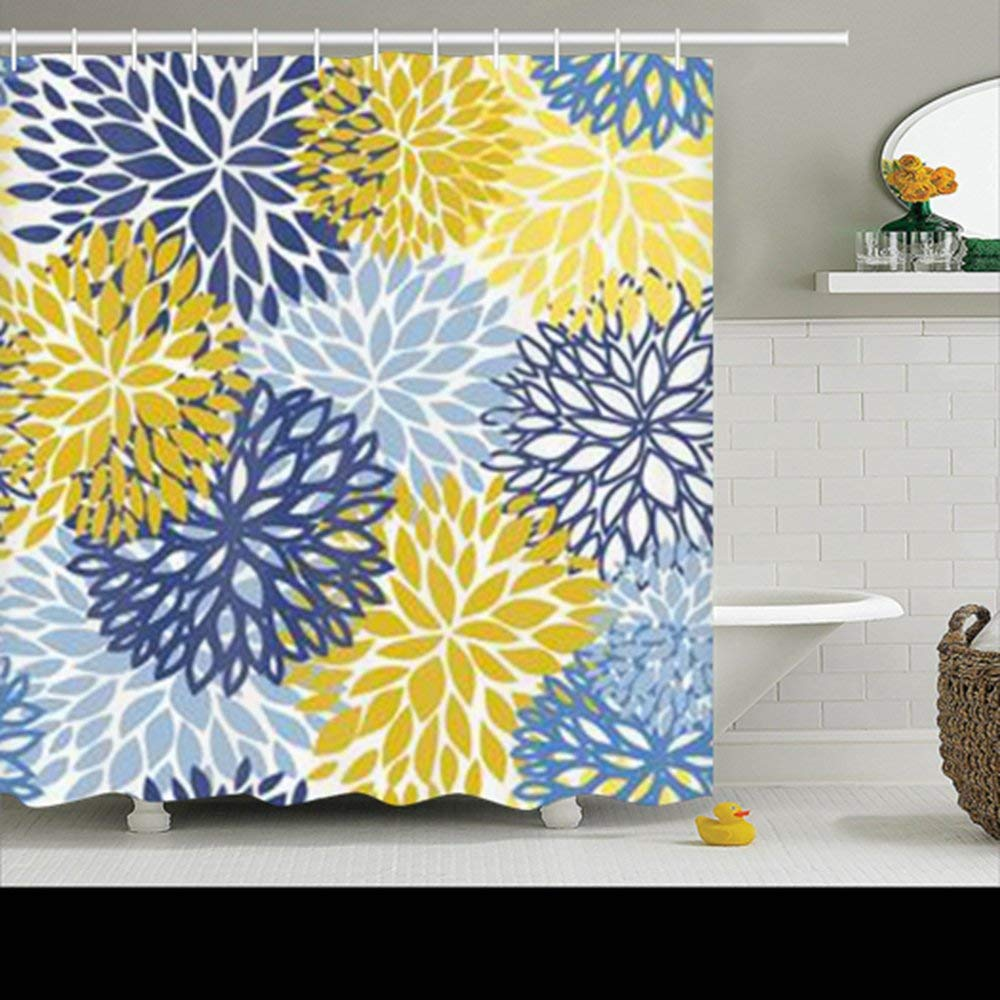 Get Quotations Spring Flower Seamless Pattern Blue Yellow Design Shower Curtains Custom 72Wx72L Inch Waterproof Polyester Fabric