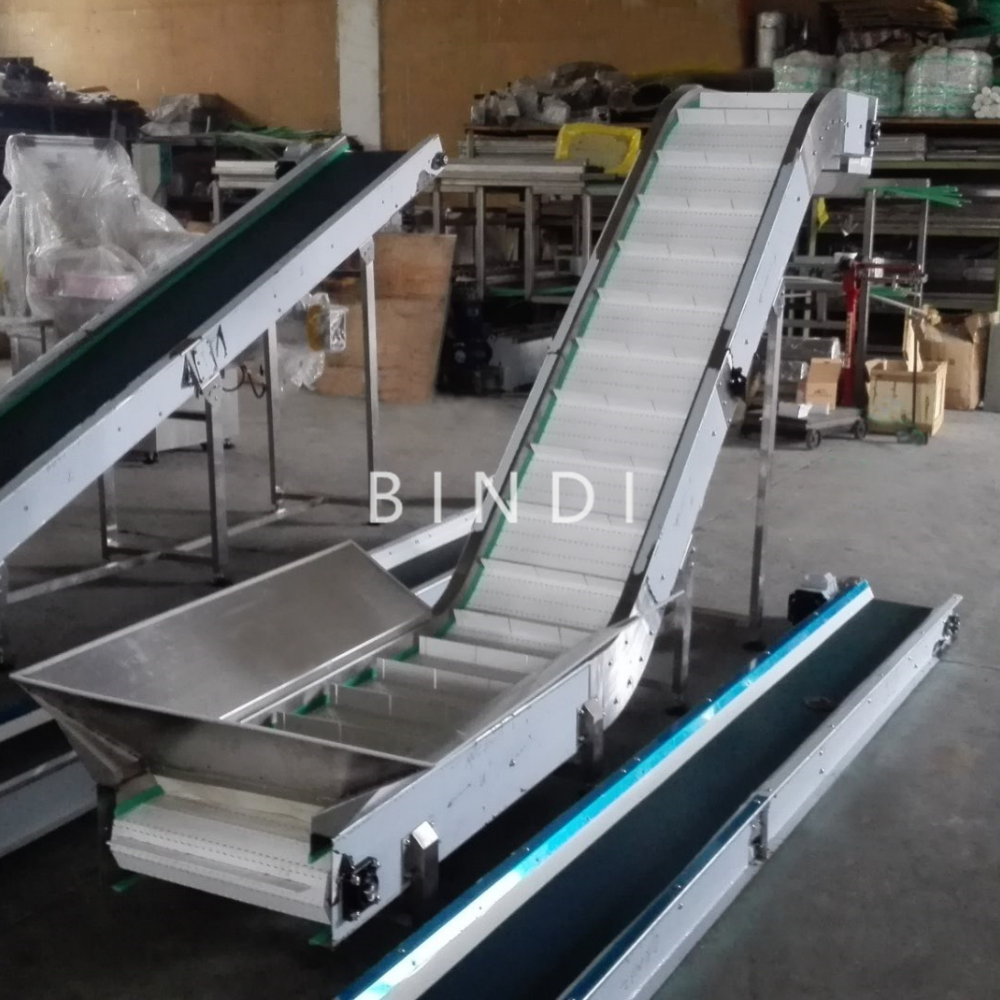 stainless steel plastic modular inclined belt lifting conveyor