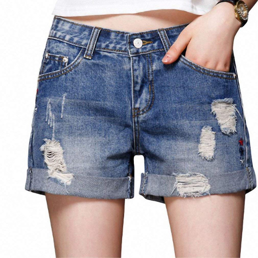 036bd8f287 Get Quotations · High Waist Denim Shorts Plus Size 26~32 Casual Jeans Short  Pant For Women Streetwear