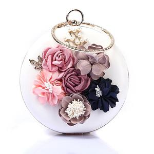 Amazon hot Round Evening Rhinestone Handbag Frame Bag Magazine Small Party Clutch Purse