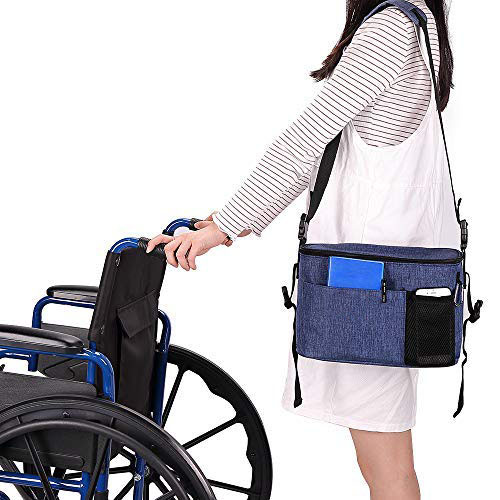 Wheelchair Armrest Pouch Organizer Bag Walker Accessory Side Bag