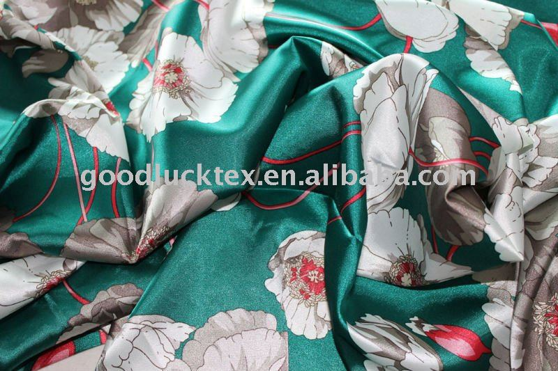 100PC poly cheap prinetd back crepe satin fabric