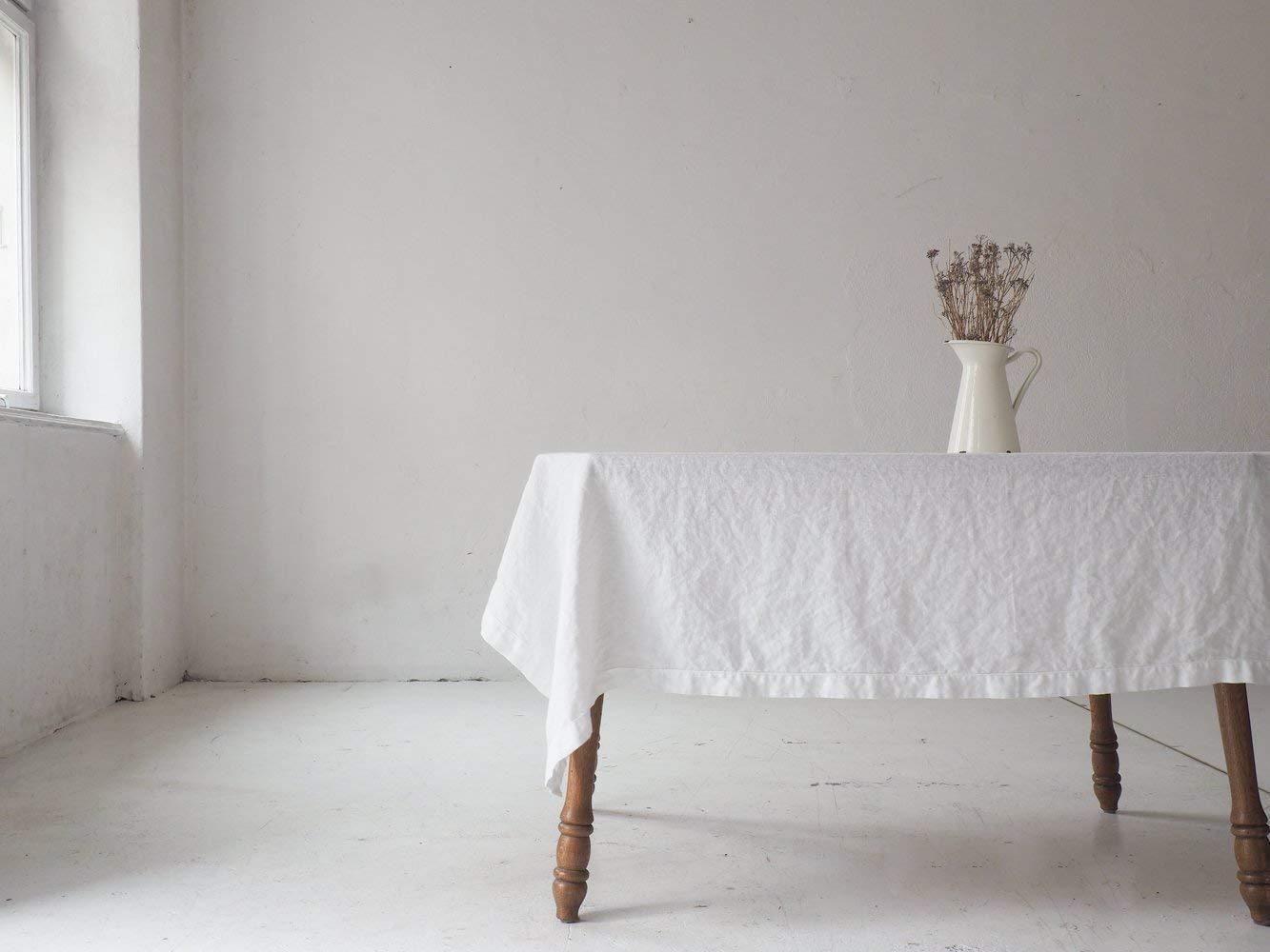 White linen tablecloth made of 100% European linen. Wedding tablecloth. Rectangle tablecloth. ablecloth 55x102 | 55 x 86 | 55x118