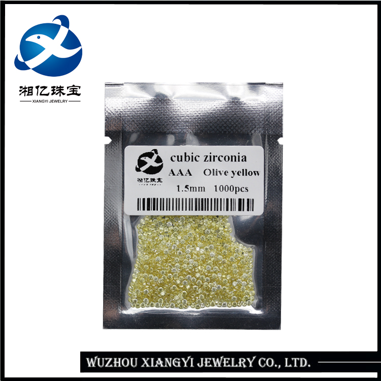 Wuzhou Cubic Zirconia Manufacturer Wholesale 1.5mm Olive Yellow CZ Stone