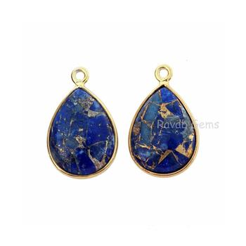 Blue Lapis Copper Turquoise 12x16mm Pear shape Gemstone Charms Gold Plated 925 Sterling Silver natural pendant stone