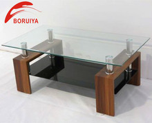 Rectangular Fashion Modern Wood Glass Coffee Table in Shengfang