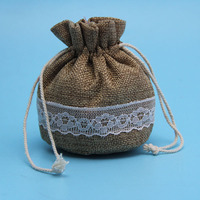 high quality products small burlap lace gift bag with round bottle