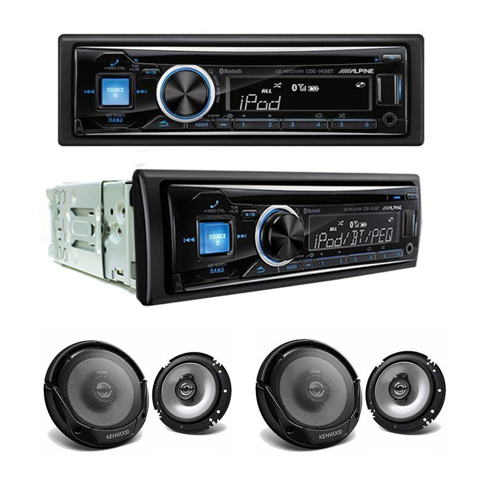 """Alpine CDE-143BT CD/USB receiver With Advanced Bluetooth and Two Sets of Kenwood KFC-1665S Sport Series 6-1/2"""" 2-way speakers"""