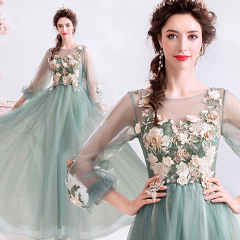 Luxury Jade Green Beaded Flower Decorate Plus Size Evening Gowns Sequined  Tulle Long Evening Dresses - Buy Jade Green Evening Gowns,Fashion Evening  ...