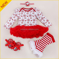 Custom 2016 newborn baby christmas outfits package hip dress up Merry Christmas party female baby pajamas