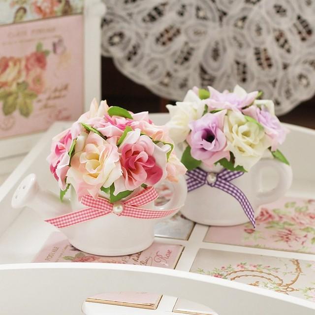 douche en c ramique vase avec fleur rose artificielle bonsa d coration fleur artificielle. Black Bedroom Furniture Sets. Home Design Ideas