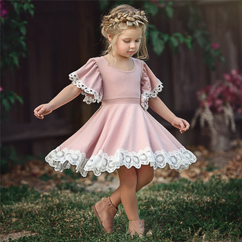 d421dcc238d 2018 new design Pink color European and American summer girls trumpet  sleeves lace princess dress for