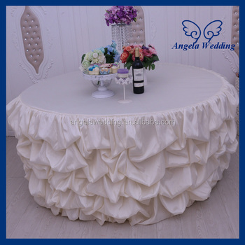 Delicieux CL015A Elegant Round Ruffled Fancy Wedding Cream Gathered Tablecloth