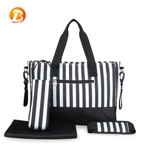 Professional mummy bags custom size fashion multi-function shoulder striped baby diaper bag