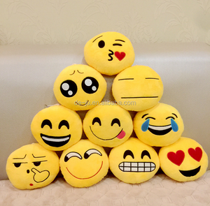 Round Yellow Small Whatsapp Emoji Stuffed Plush Soft Toy