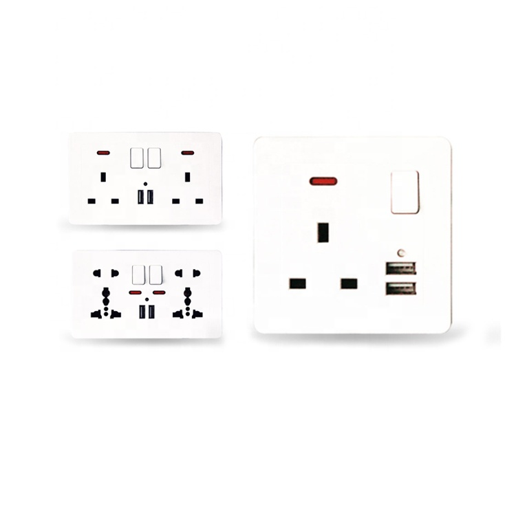 UK <strong>Standard</strong> Ivory White Wall Panel Power Switched <strong>Socket</strong> with Dual USB Port