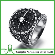Mens Stainless Steel Jewelry Black Silver Anchor Nautical Ship Wheel Steering Ring