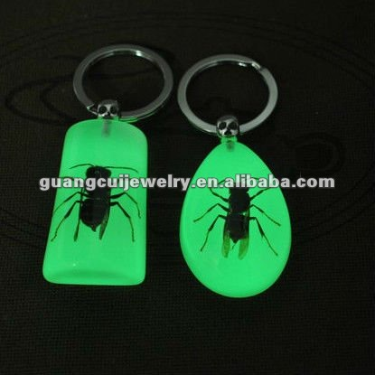 fashion luminous insect wedding keychains souvenir crafts antique key chains