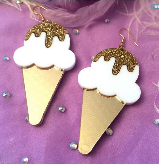 2017 hot sale acrylic cute Ice cream Ice cream cone drop earrings for girl lovely earrings fashion ear jewelry