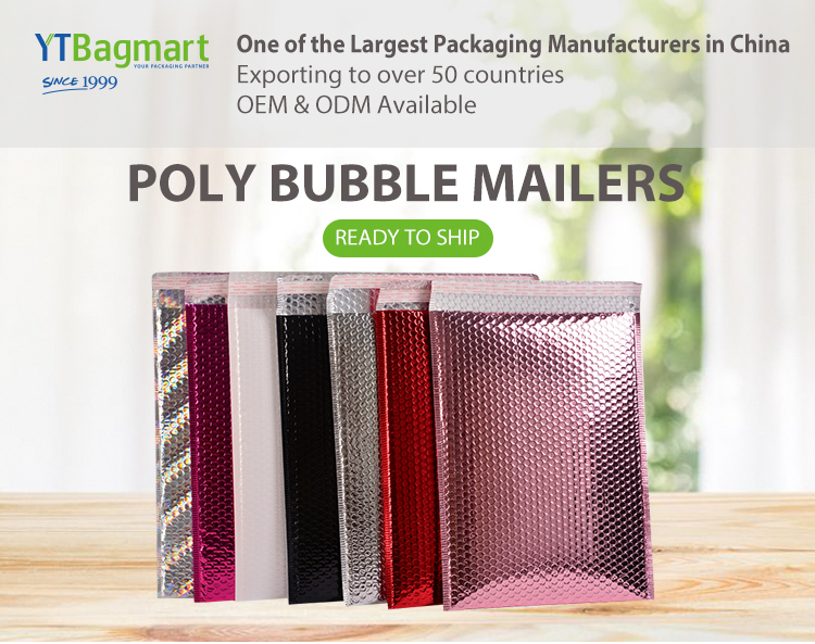 Manufacturer Metallic Bubble Mailing Padded Envelopes Bags Rose Gold Poly Large Bubble Mailer