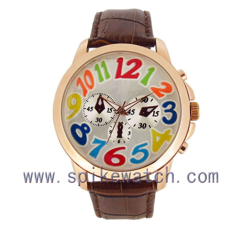 Cool trendy design big numbers round case men dial colorful watch wrist