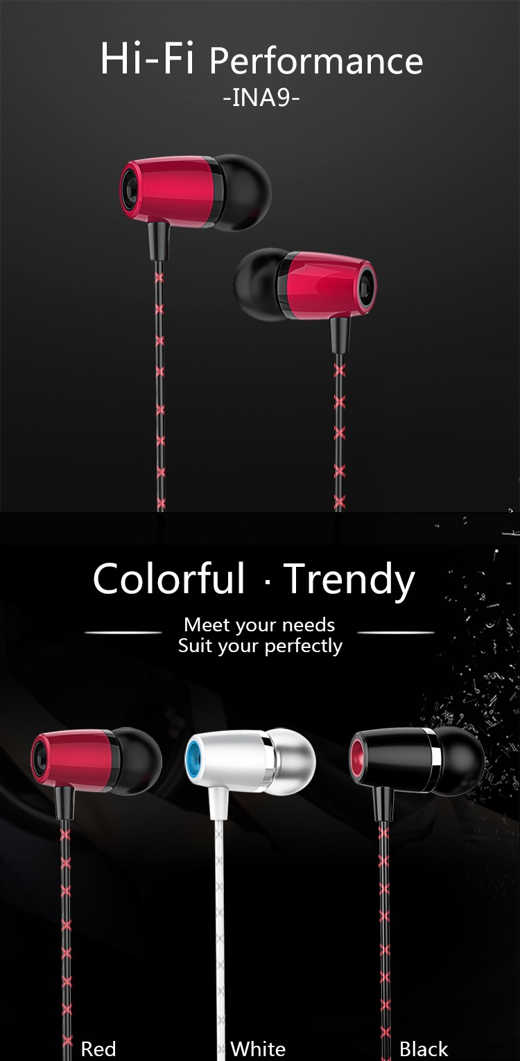 Konfulon 3.5mm Earphone In-Ear Microphone Fashion Handsfree For iph,Sam,Android Smart Phone