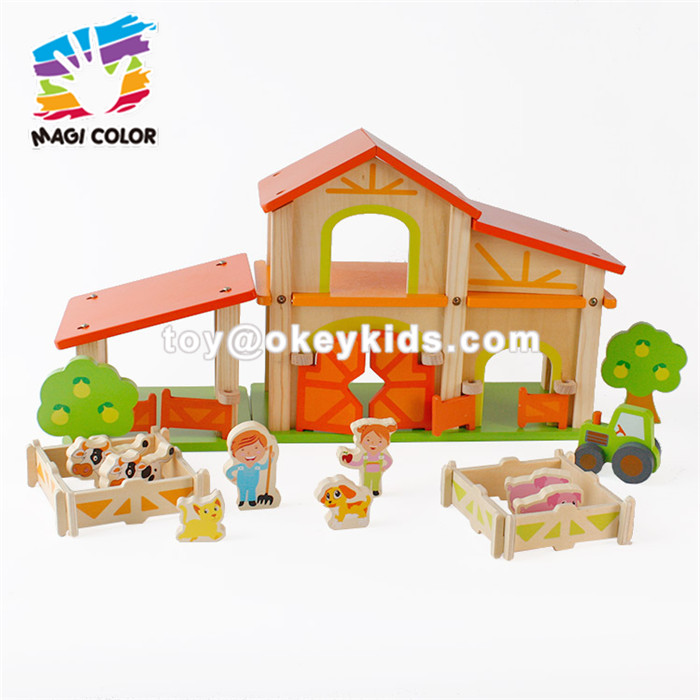 Wholesale interesting wooden doll house assemble farm toy for kids' practical ability W06A255