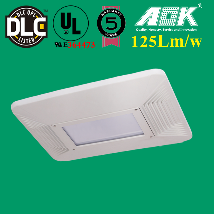 LED Outdoor Pilot 75w Light/UL FCC DLC Canopy Ceiling Light/Gas Station 130lm/w Lights