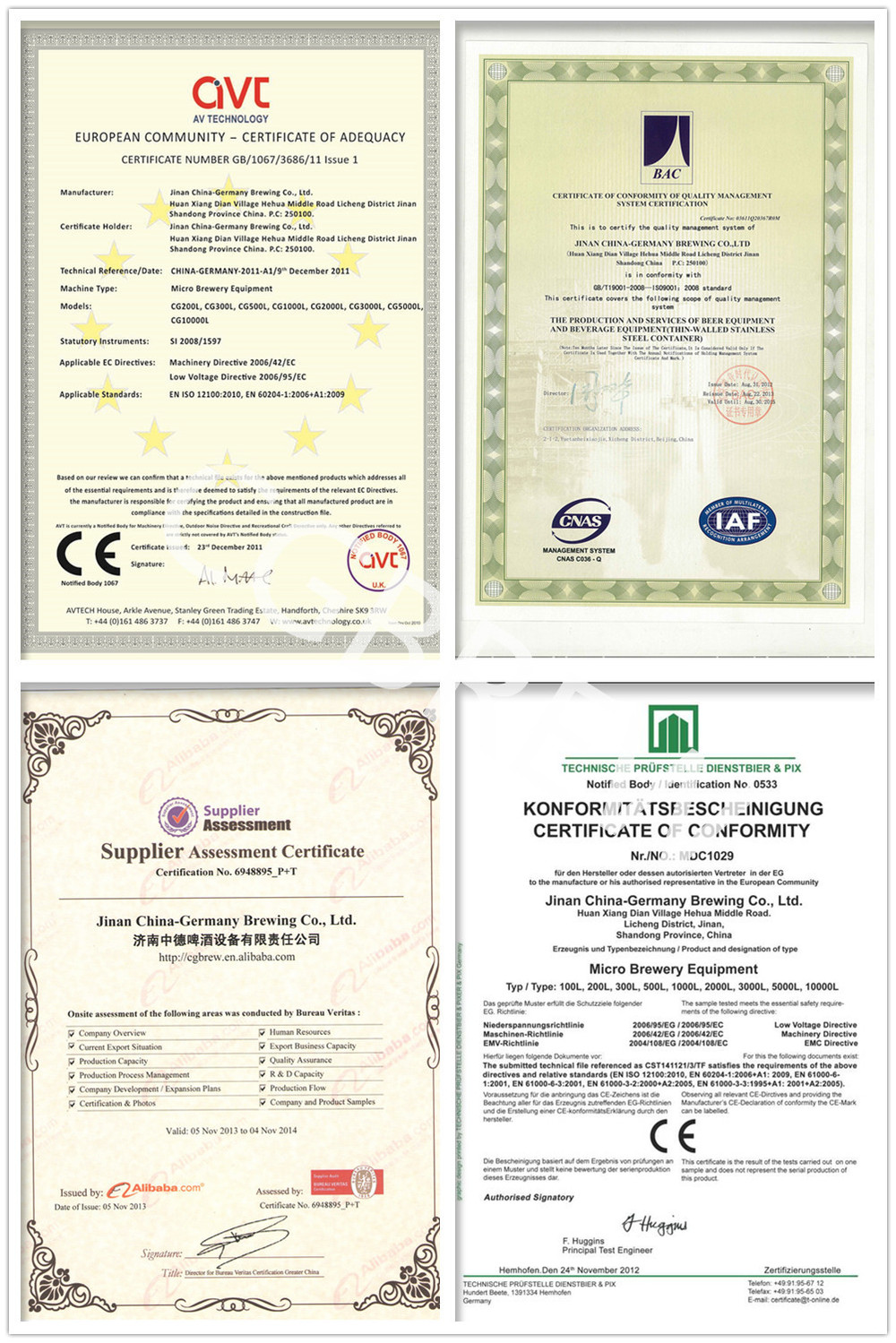 certificate of brewing equipment