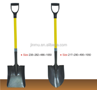 Agriculture digging tools of steel shovel with fiberglass handle