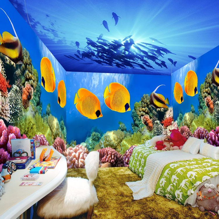Dropshipping 3d wall paper with wholesale 3d wallpaper for for Aquarium mural wallpaper