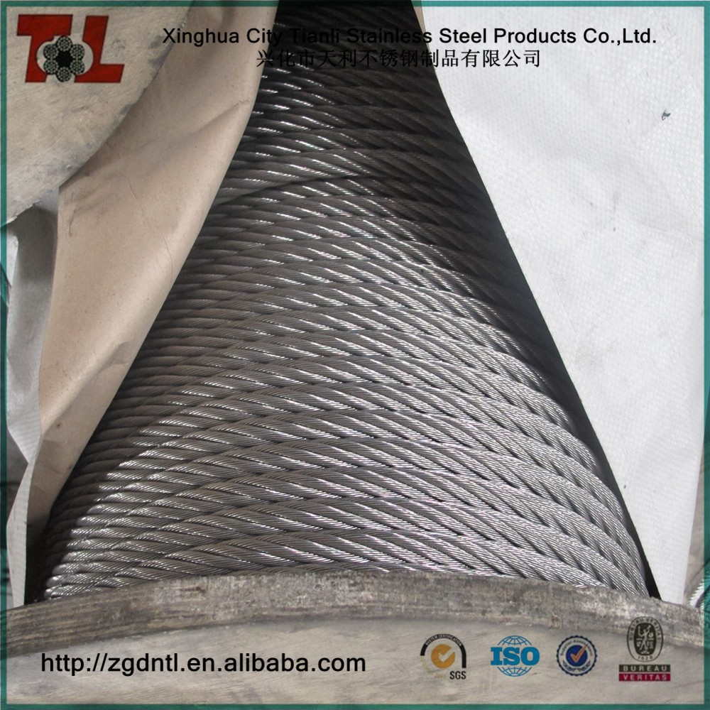 316 Stainless Steel Wire Rope 4mm 7x7 1570 N/mm2 Right Hand Ordinary ...