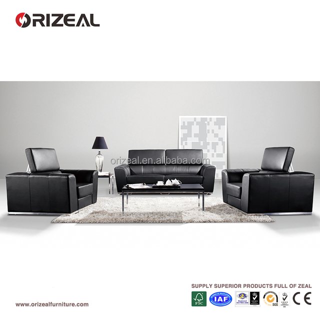 Modern China Style Design Black Leather Office Furniture Sofa Set For Free Consultation